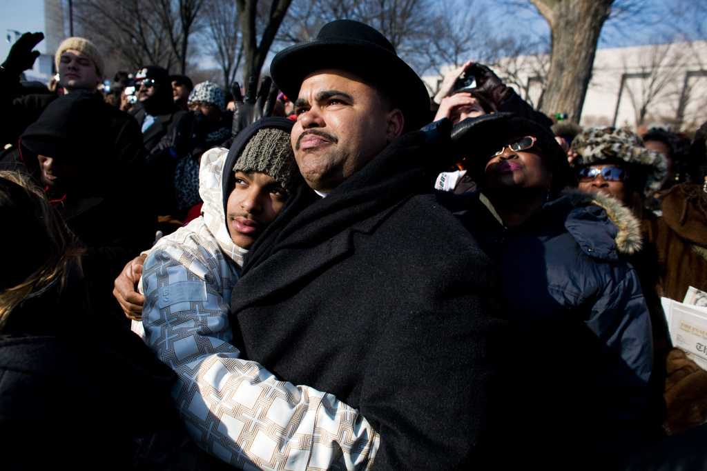 Father and son Obama inaguration Washington DC